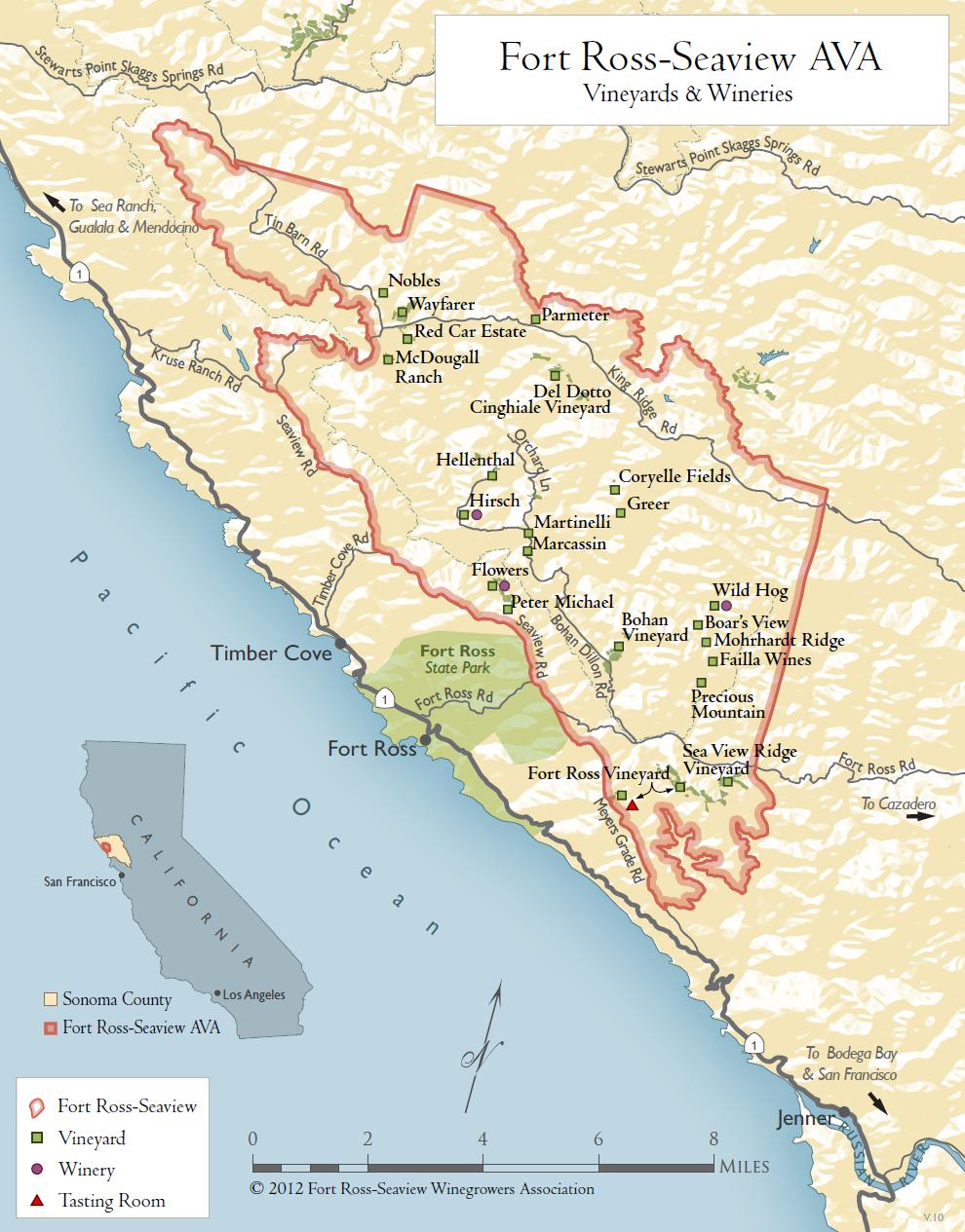 Fort Ross Vineyard Vineyard Fort RossSeaview - Map of all us avas